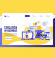 education investment flat landing page vector image