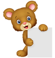 Funny bear holding blank sign vector image vector image
