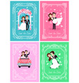 happy couple standing together wedding vector image