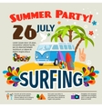 Hippie surfing poster vector image vector image