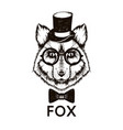 hipster fox muzzle wearing top hat and bowtie vector image vector image