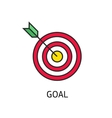 icon flat target with dart isolated goal vector image
