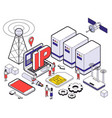 isometric web hosting colored concept vector image vector image