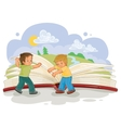 Little boys turn pages great book vector image vector image