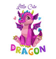little cute cartoon pink dragon girl vector image vector image