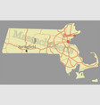 massachusetts state map with community assistance vector image vector image
