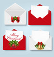 merry christmas envelope set isolated blue vector image