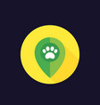 paw and location marker icon vector image