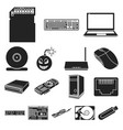 personal computer black icons in set collection vector image vector image