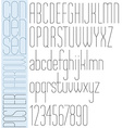 Poster black slim condensed font and numbers on vector image vector image