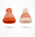 realistic 3d detailed winter hat set vector image vector image