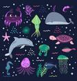 sea life underwater world fish jellyfish sea vector image vector image