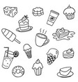 set doodle sweets food on white background vector image