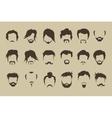 set hair mustache beard vector image vector image