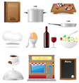 set kitchen icons for restaurant cooking vector image