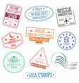 set of visa passport stamps international vector image vector image