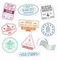 set visa passport stamps international vector image vector image