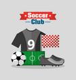 soccer club t shirt sneaker ball field flag vector image