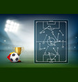 soccer field on device screen playing tactics vector image