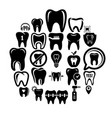 tooth logo dental clinic icons set simple style vector image vector image