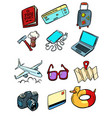 travel tourism collection set icons symbols vector image vector image