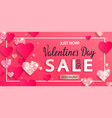 valentines day sale banner with paper hearts vector image vector image
