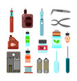 vaping accessories flat icons set vector image vector image