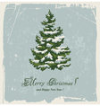 Vintage christmas card with spruce in the snow vector image