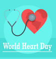 world heart day background flat style vector image