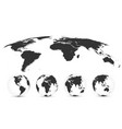 world map isolated on white background in gray vector image vector image