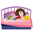 young girl reading book on bed vector image vector image