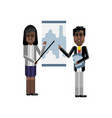 african man and woman doing presentation vector image vector image