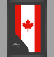 alberta canada map with canadian national flag vector image vector image