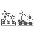 beach line and glyph icon travel and vacation vector image vector image