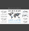big set maps and globes pins collection vector image vector image