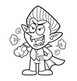 black and white dracula mascot getting angry vector image
