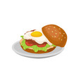 burger with fried egg fresh nutritious breakfast vector image vector image