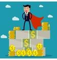businessman standing on huge pile of money vector image vector image