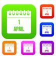 calendar april 1 set collection vector image vector image