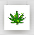 cannabis green silhouette logo hemp of emblem for vector image