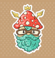 cartoon hipster mushroom vector image