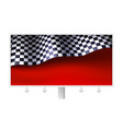 chequered flag with creases on realistic billboard vector image vector image