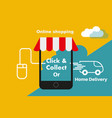 click and collect internet shopping concept vector image vector image