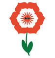 cute red flower on white background vector image vector image