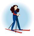 cute ski girl vector image vector image