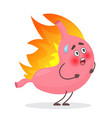 cute stomach emotions character in fire gastritis vector image vector image
