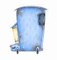 cute whimsical blue vintage car with eyes vector image