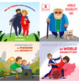day persons disabilities banner set cartoon style vector image
