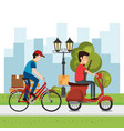 delivery worker with vehicles character vector image vector image