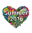 Doodle flowers heart with Summer 2016 text vector image vector image